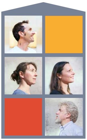 Clockwise from top left: Josh Stuart, professor of biomolecular engineering; Olena Morozova, postdoctoral scholar; Ted Goldstein, alumnus and UC Santa Cruz Foundation trustee; Yulia Newton, Ph.D. candidate